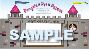 Gift Certificate | Ponga's Pet Palace | Pet Grooming, Boarding, Doggie Day Care | Mandeville, Covington, Madisonville, Lacombe, LA